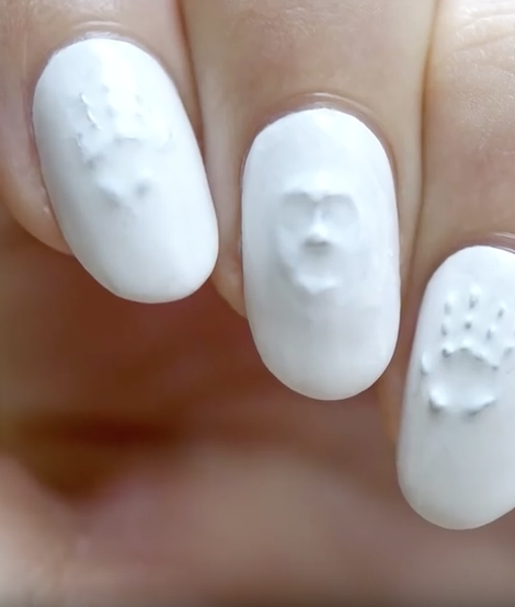 Ghost face 3-D nail art idea