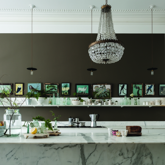 Farrow and Ball kitchen walls in Salon Drab No.290