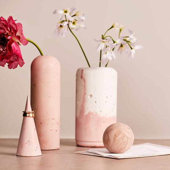 concrete vases flowers pink