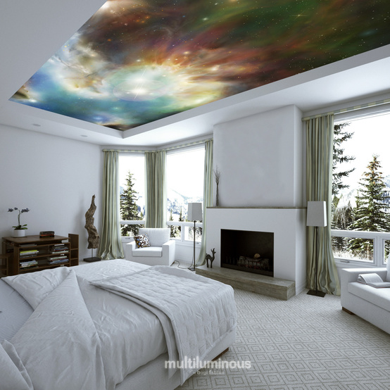 glowing space print bedroom ceiling decor