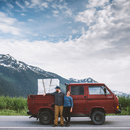 red truck mountains