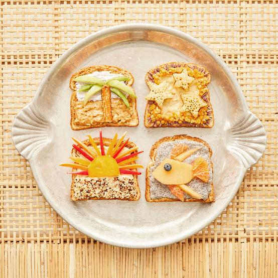 beach theme toast on round serving platter