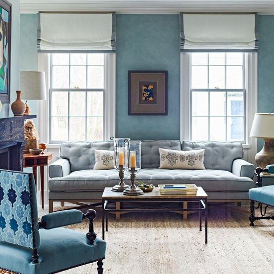 blue curtains lamp