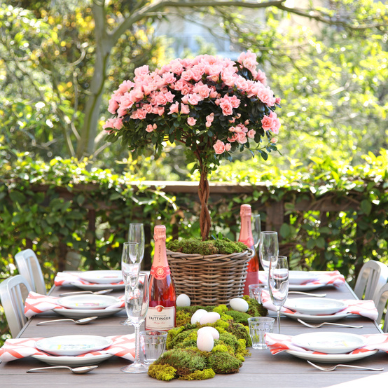 wide shot of easter table