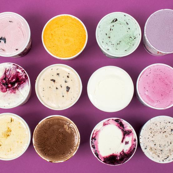 ice cream pints overhead purple