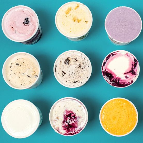ice cream pints overhead blue green