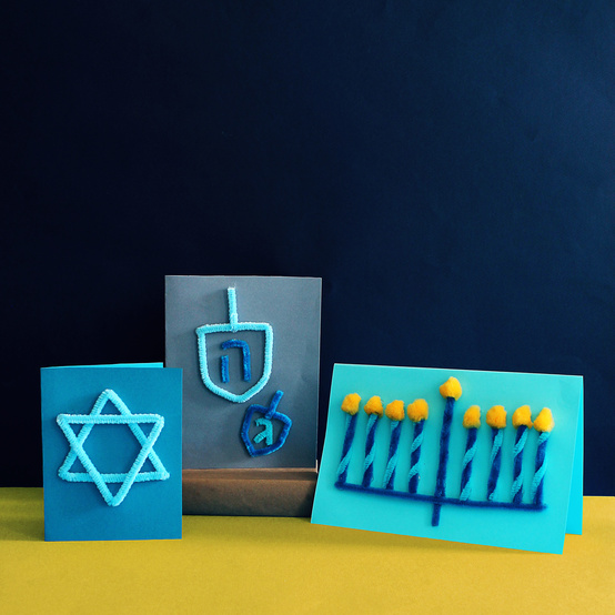 pipe cleaner Hanukkah cards