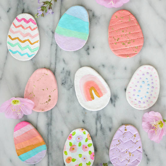 salt dough easter eggs on a marble counter