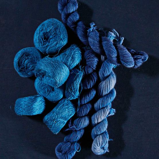 skeins of blue silk yarn