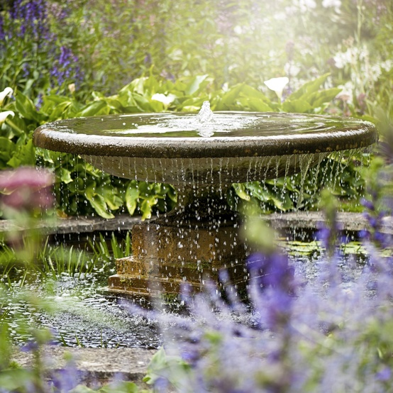 water fountain in garden surrounded by flowers