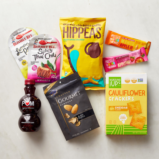 group of travel snacks