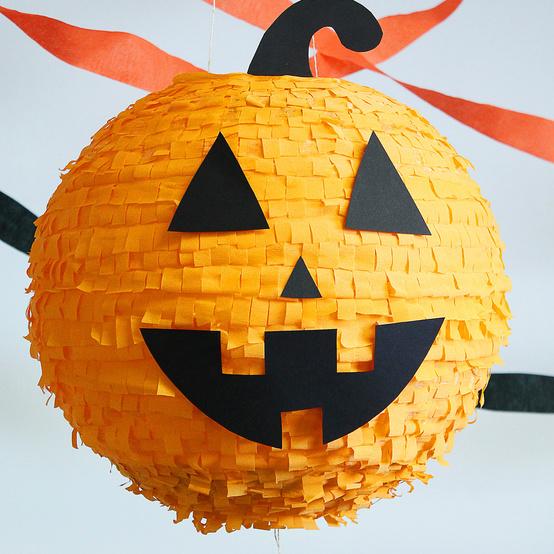 finished halloween pumpkin pinata