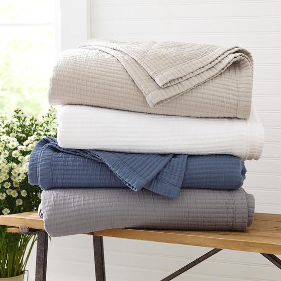 folded blankets stack