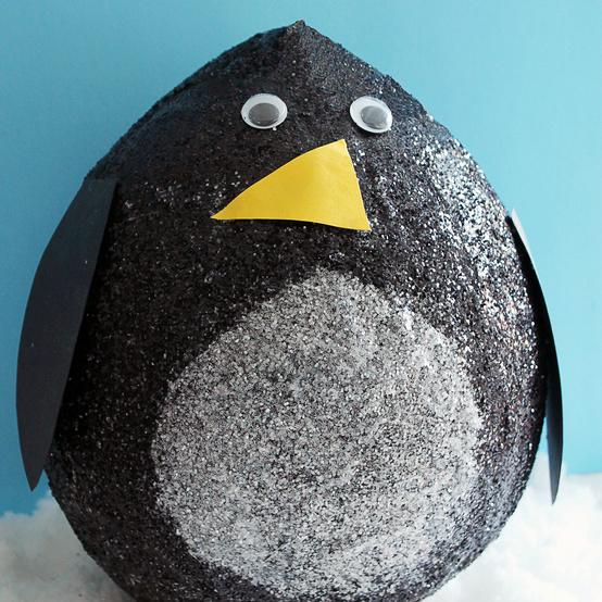 glittered papier-mache penguin