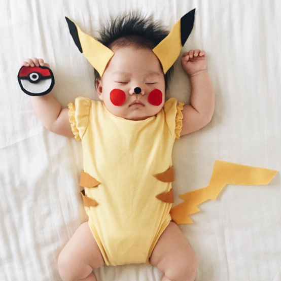 This baby is famous on Instagram for her cute costume transformations, including Pikachu.