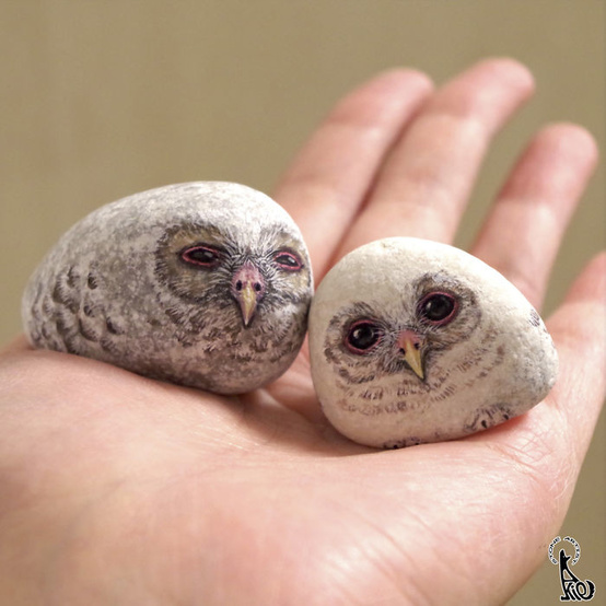 owl painted stones