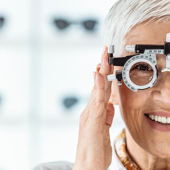 woman in eye exam