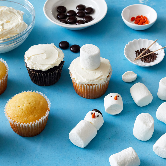 snowman cupcake making process and materials