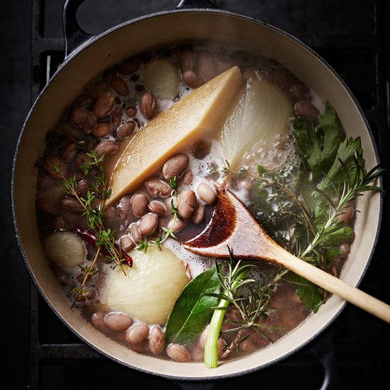 better basic beans ingredients in pot on stove