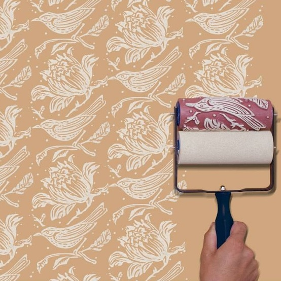 patterned paint roller of birds on wall