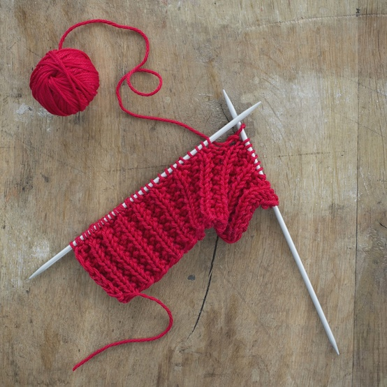 knitting red scarf
