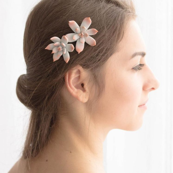 succulent hair clip