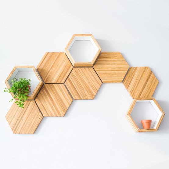 bamboo hexagon shelves