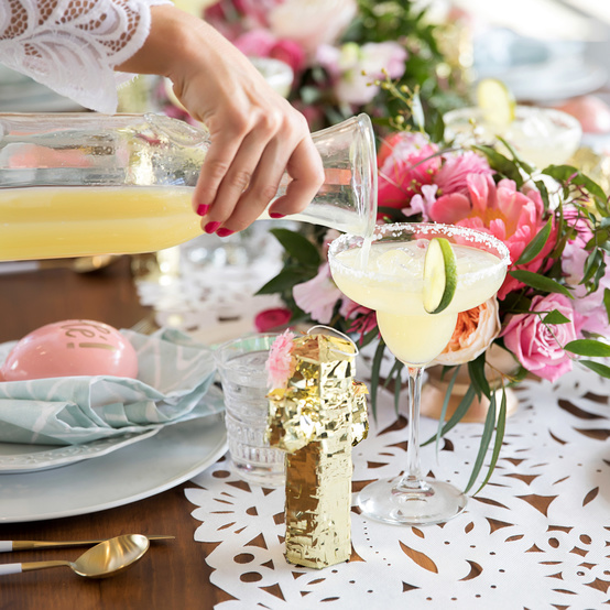 cinco de mayo floral fiesta table setting margarita