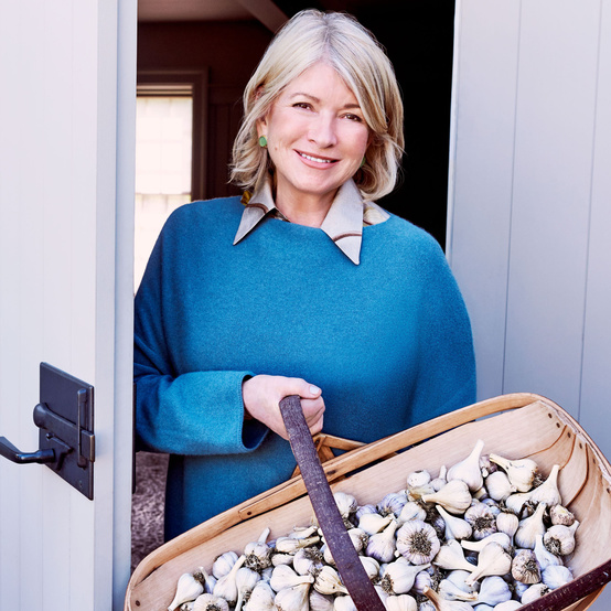 martha with basket of garlic