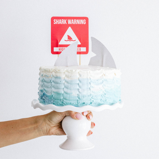 """Shark Week ombre """"ocean"""" frosted cake"""