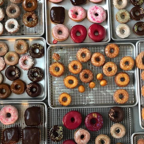 burner donut images variety on baking pans