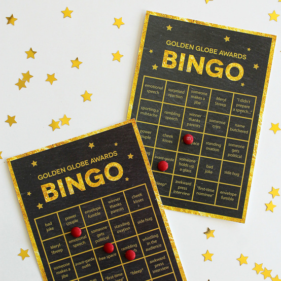 Golden Globes printable bingo cards