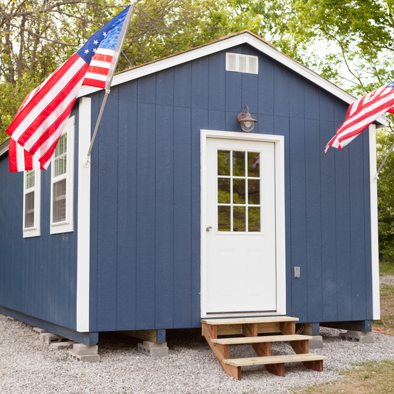tiny home veterans american flag