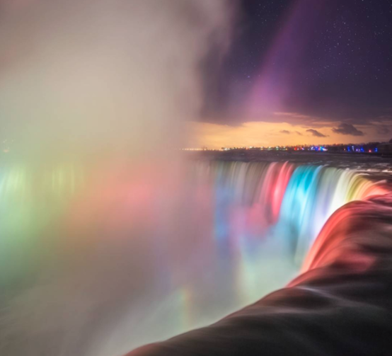 Niagara Falls light show at night