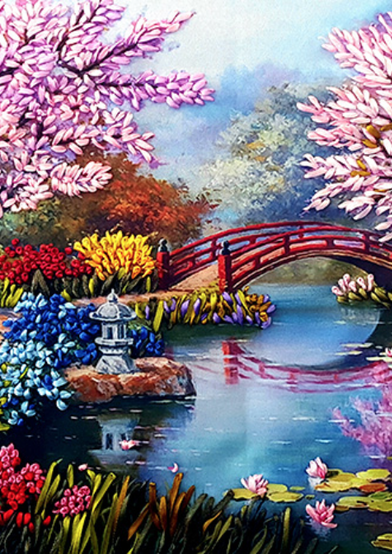 Meko Gelashvili satin embroidery art
