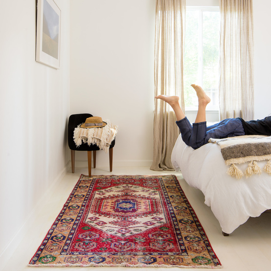 revival rug in bedroom