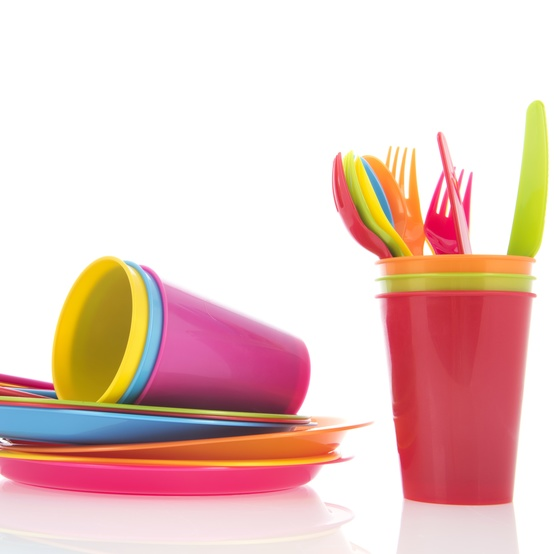 plastic cutlery and plates