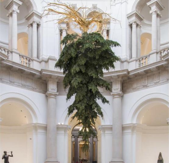 Tate Britain's upside Christmas tree