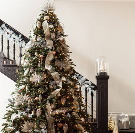A beautiful christmas tree with ribbons by Balsam Hill