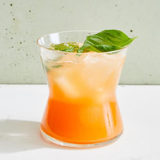 cantaloupe-basil-grapefruit cooler cocktail