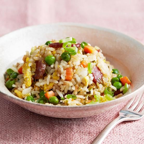 fried rice and salmon chowder