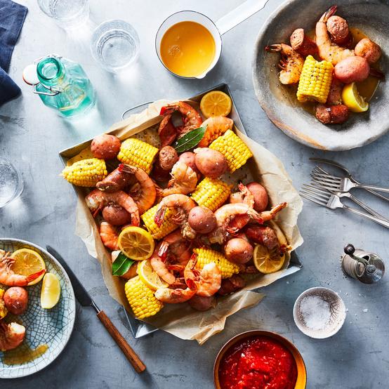 instant pot shrimp boil on table on plates