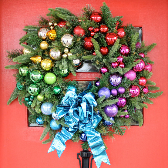 rainbow Christmas wreath