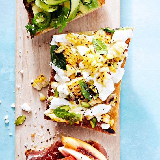 corn feta pistachio tartine