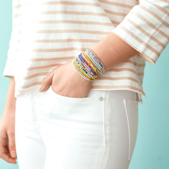 seed bead bracelets on figure