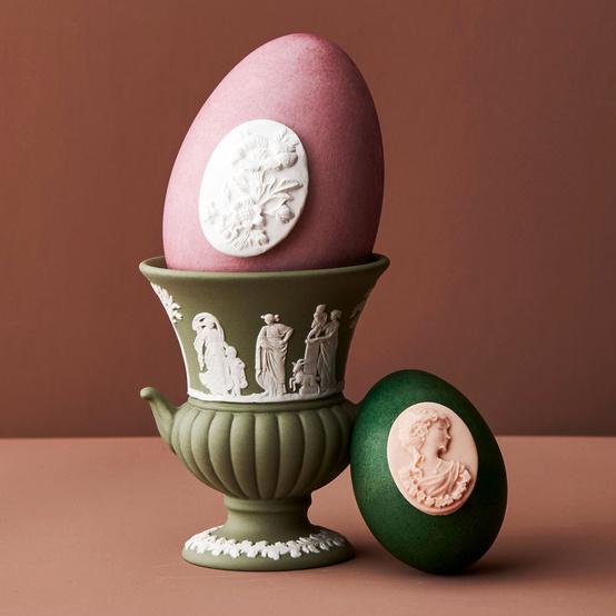jasperware easter eggs with vase