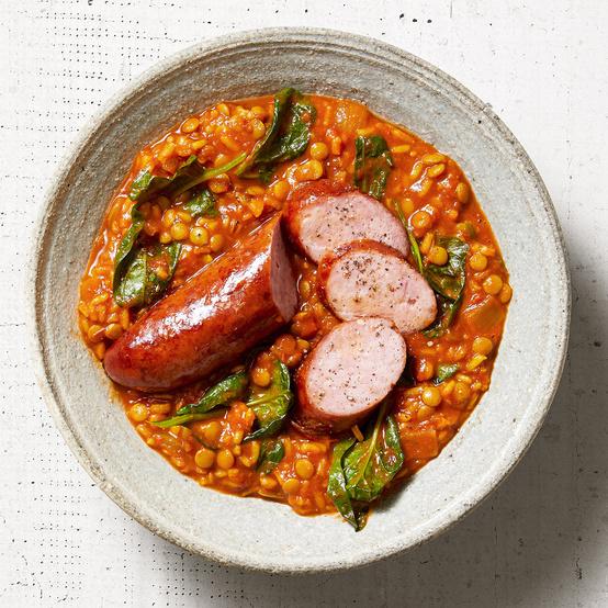 kielbasa and lentil rice with spinach