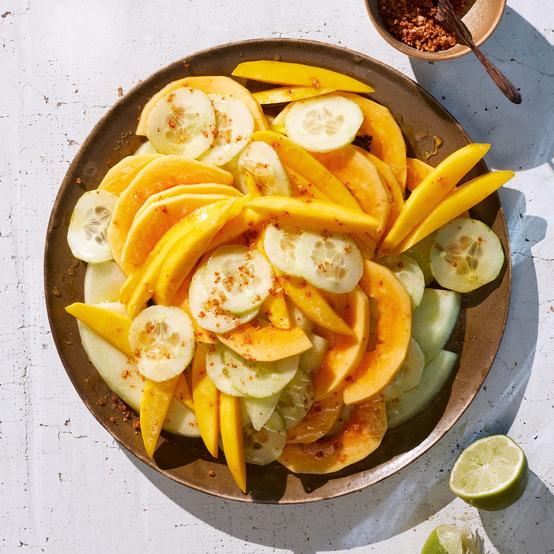 mango papaya and melon salad topped with sea salt