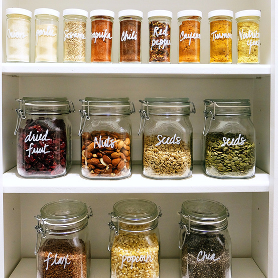 pantry organization spices popcorn grains in jars