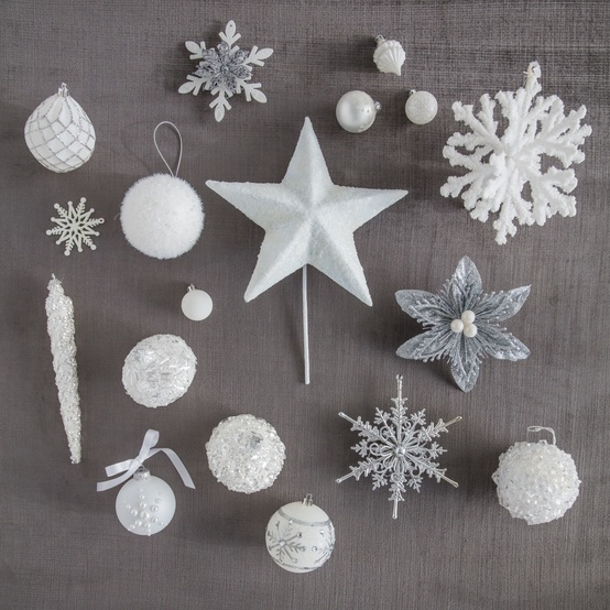 Winter White Christmas tree ornaments